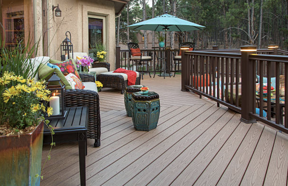 Backyard wood deck with outdoor furniture in Lake Charles LA